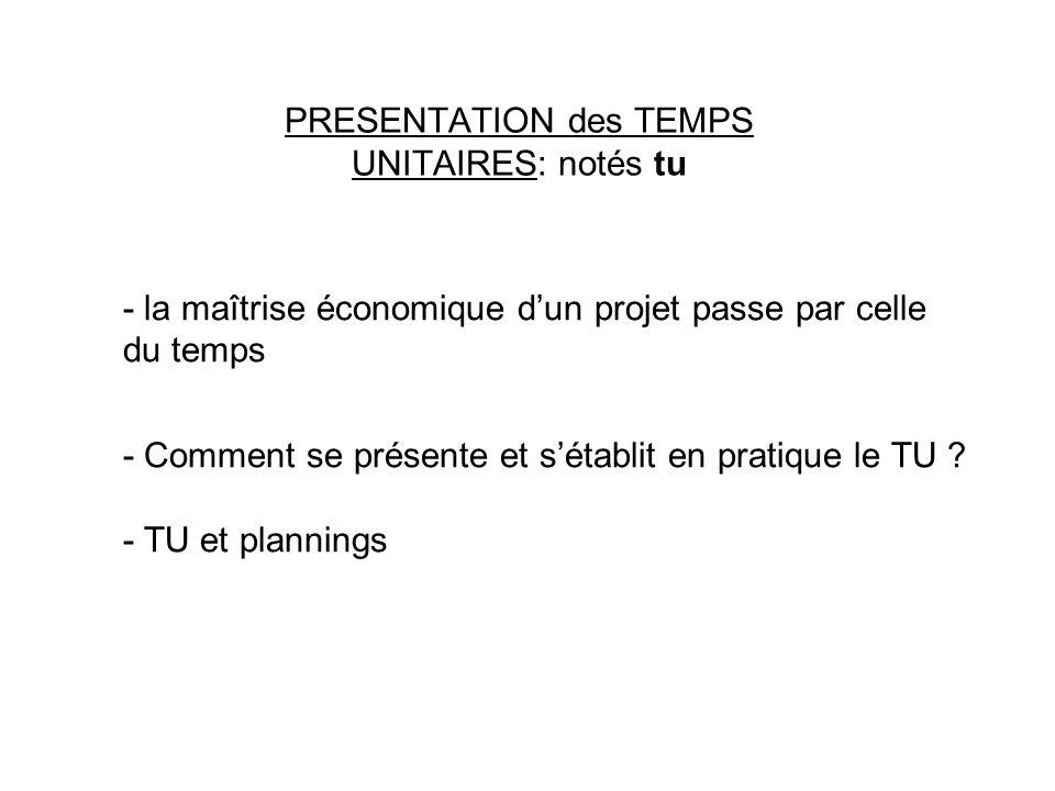 PRESENTATION des TEMPS UNITAIRES: notés tu