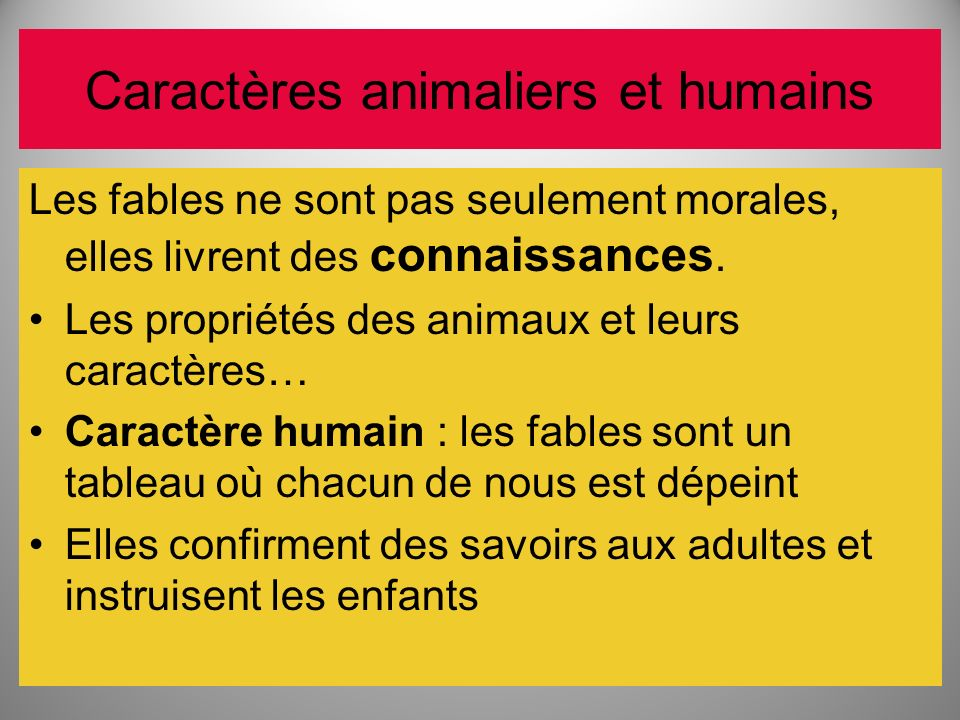 Caractères animaliers et humains