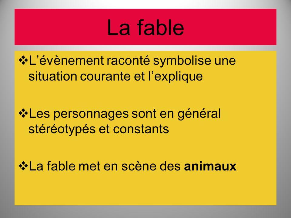 La fable L'évènement raconté symbolise une situation courante et l'explique. Les personnages sont en général stéréotypés et constants.