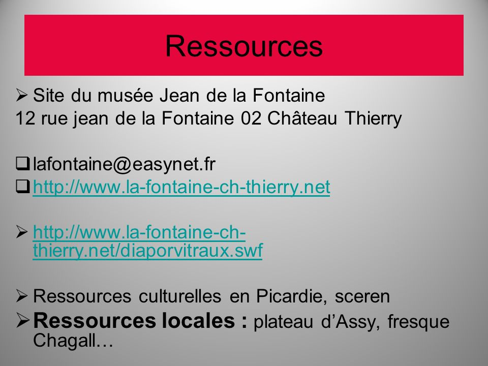 Ressources Ressources locales : plateau d'Assy, fresque Chagall…