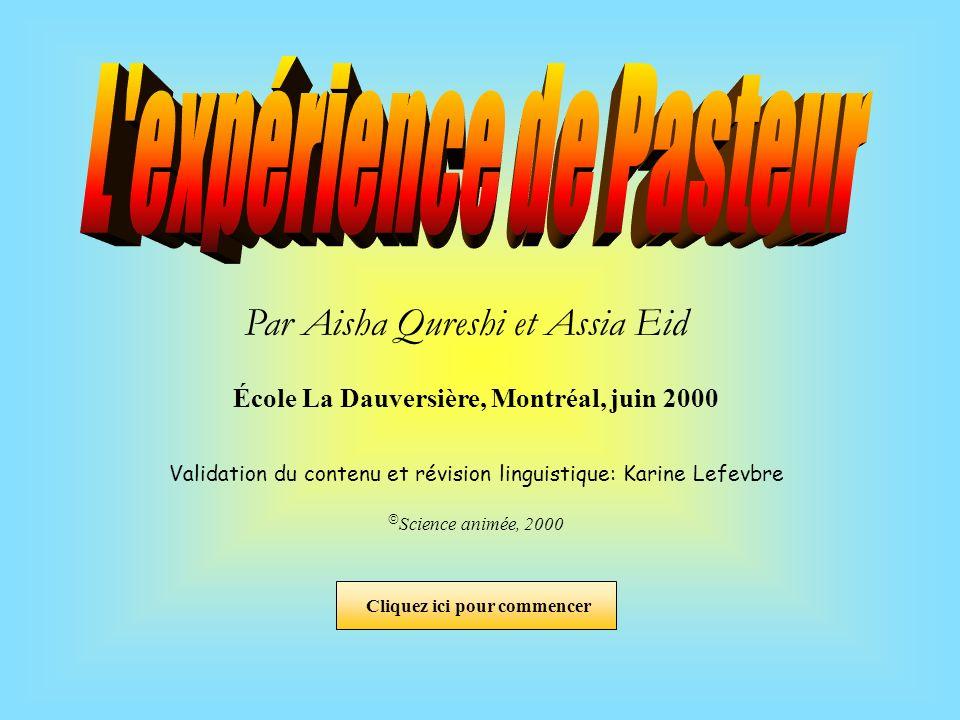 L expérience de Pasteur École La Dauversière, Montréal, juin 2000