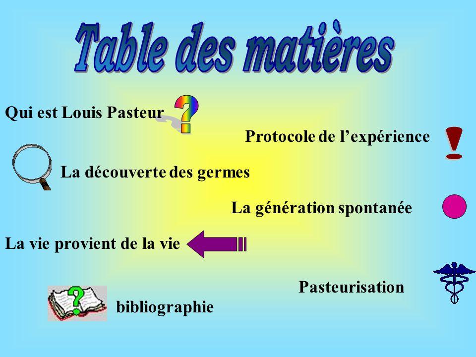 Table des matières ! Qui est Louis Pasteur Protocole de l'expérience