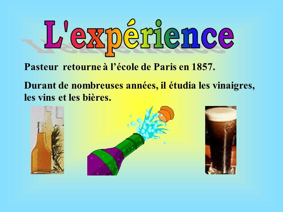 L expérience Pasteur retourne à l'école de Paris en 1857.
