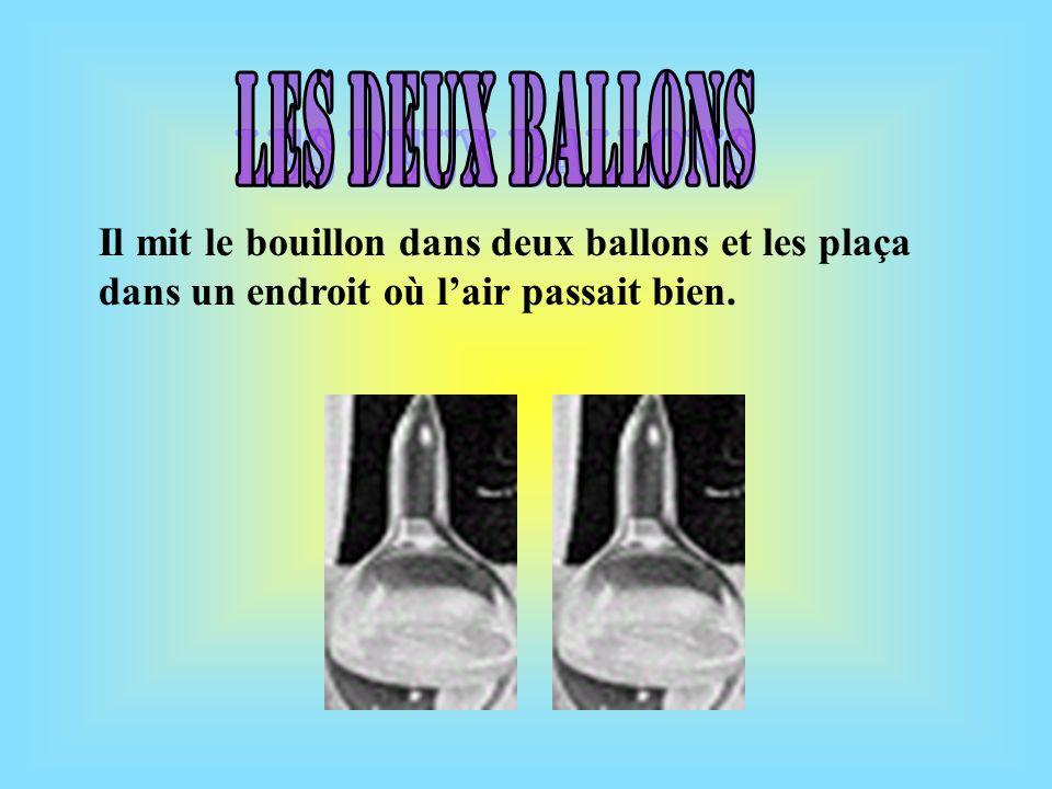 Les deux ballons Il mit le bouillon dans deux ballons et les plaça dans un endroit où l'air passait bien.
