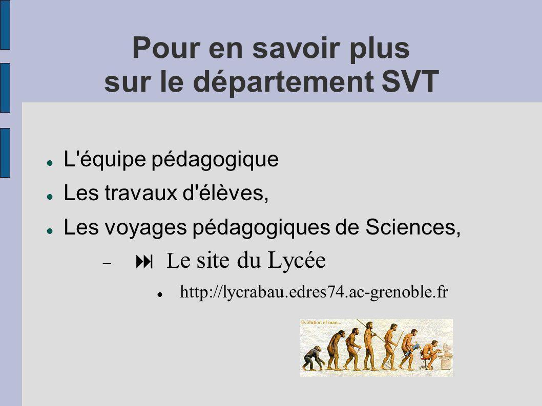 Pour en savoir plus sur le département SVT