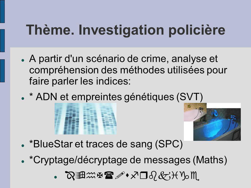 Thème. Investigation policière