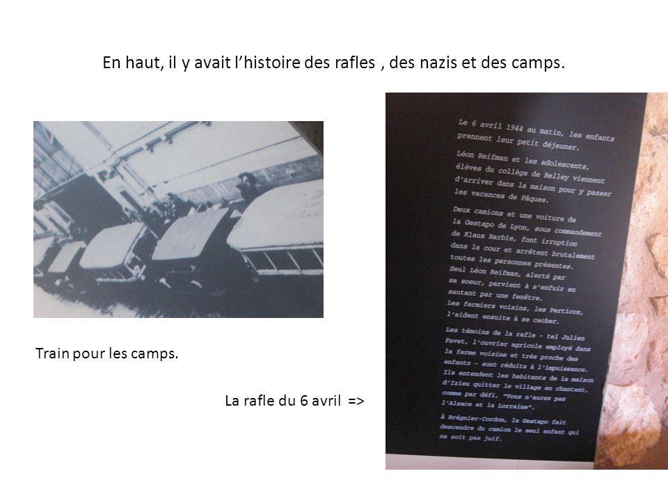 En haut, il y avait l'histoire des rafles , des nazis et des camps.
