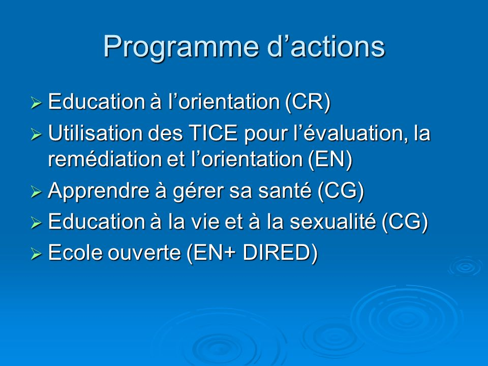 Programme d'actions Education à l'orientation (CR)