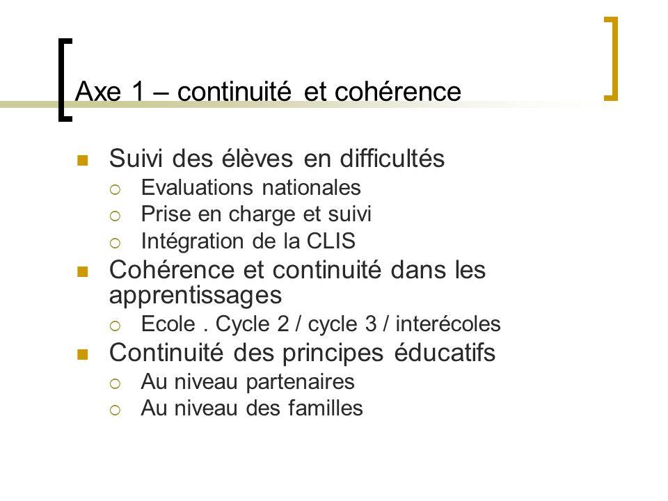 Axe 1 – continuité et cohérence