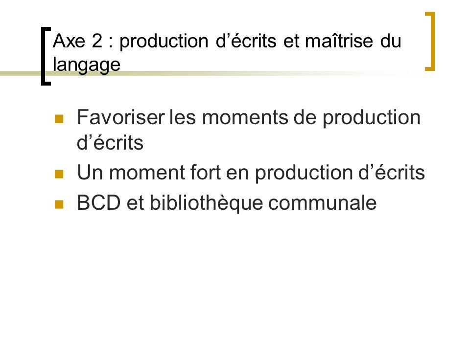 Axe 2 : production d'écrits et maîtrise du langage