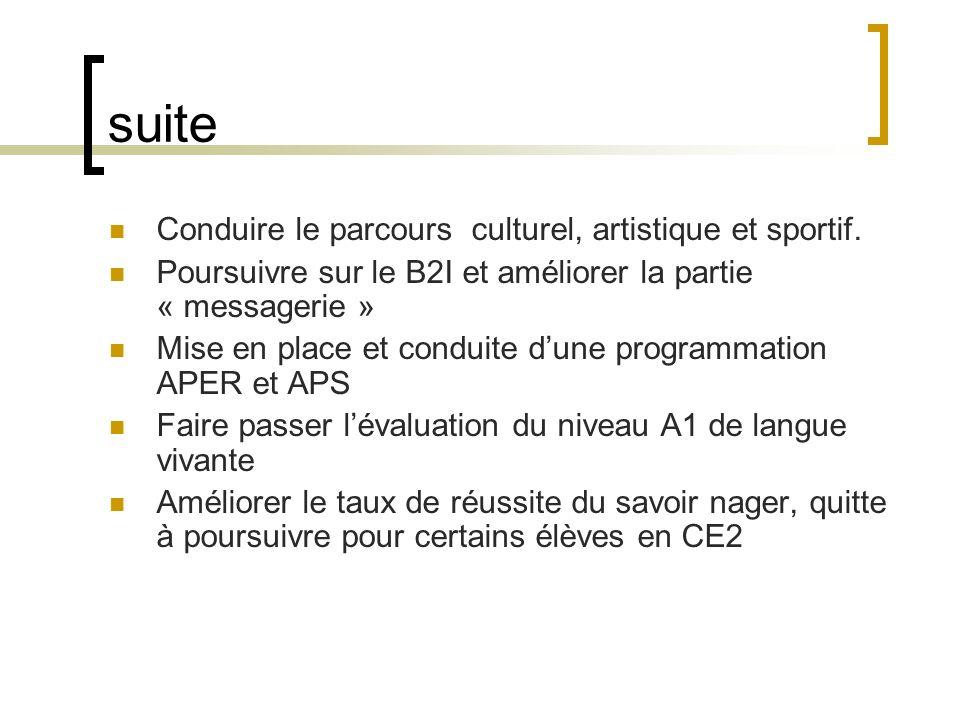 suite Conduire le parcours culturel, artistique et sportif.