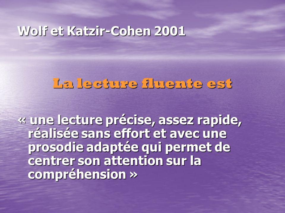 La lecture fluente est Wolf et Katzir-Cohen 2001