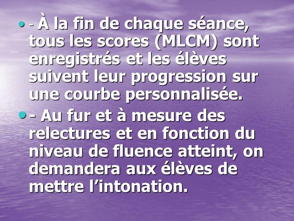 - À la fin de chaque séance, tous les scores (MLCM) sont enregistrés et les élèves suivent leur progression sur une courbe personnalisée.