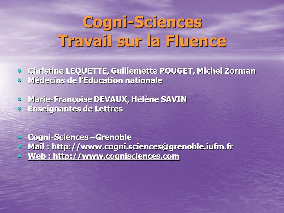 Cogni-Sciences Travail sur la Fluence