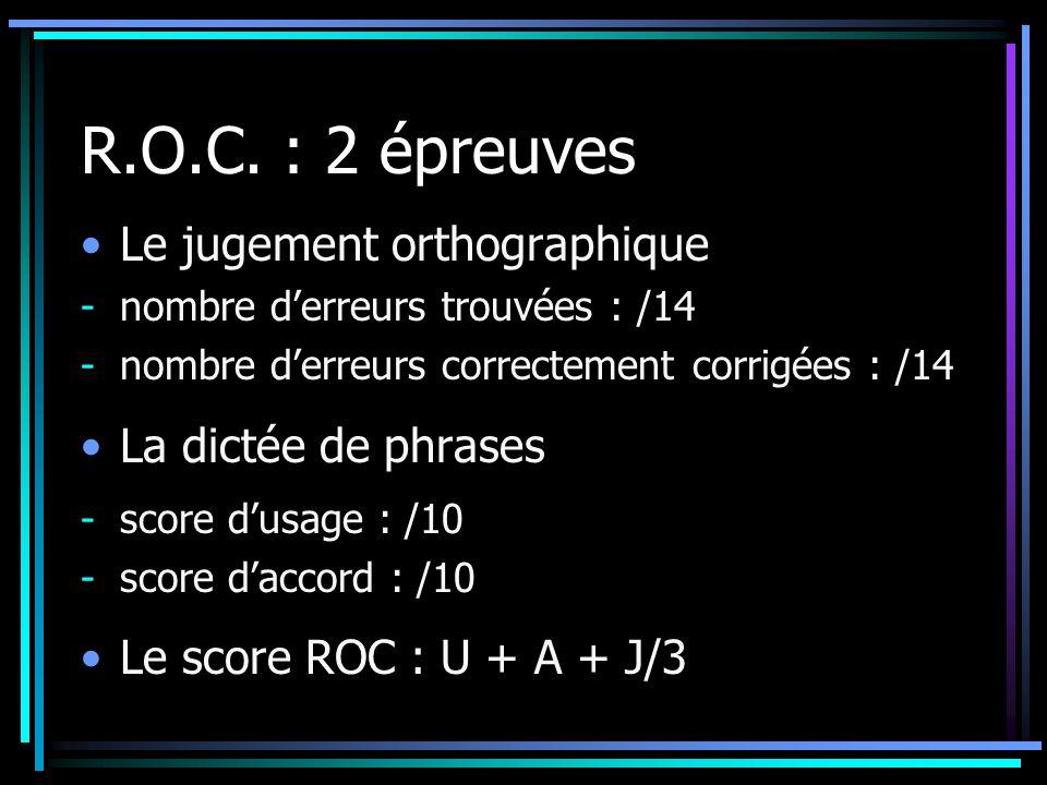 R.O.C. : 2 épreuves Le jugement orthographique La dictée de phrases