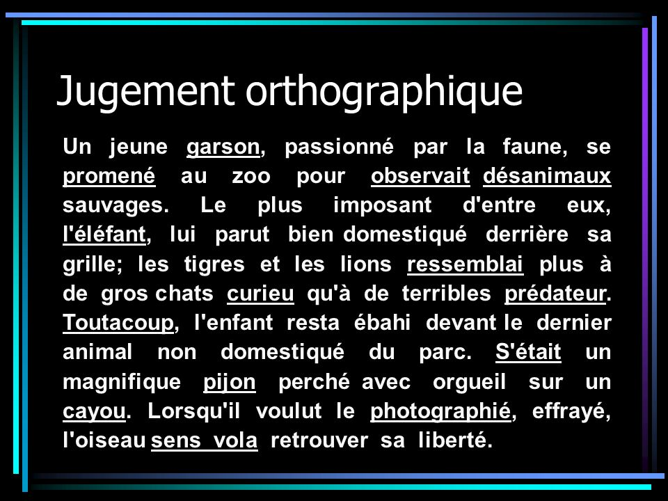 Jugement orthographique