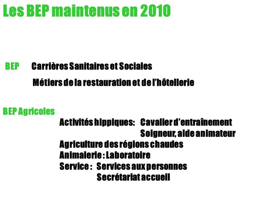 Les BEP maintenus en 2010 BEP Carrières Sanitaires et Sociales