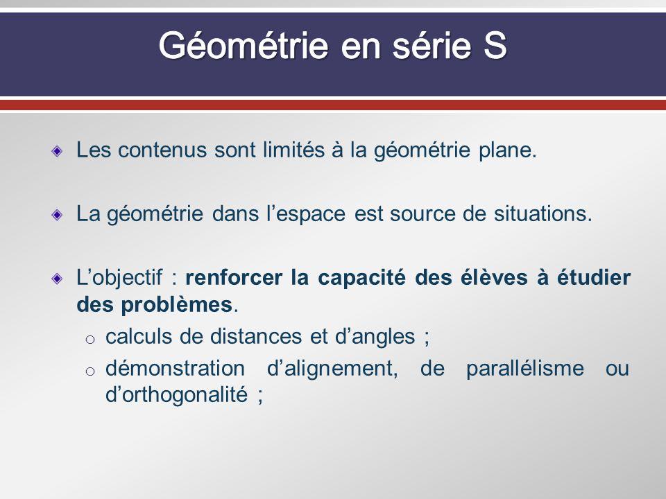 Géométrie en série S Les contenus sont limités à la géométrie plane.