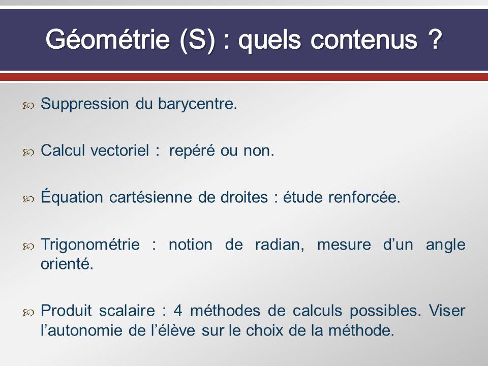 Géométrie (S) : quels contenus