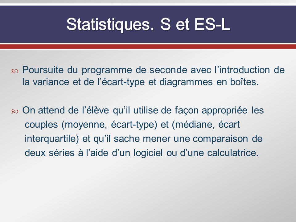 Statistiques. S et ES-L Poursuite du programme de seconde avec l'introduction de la variance et de l'écart-type et diagrammes en boîtes.