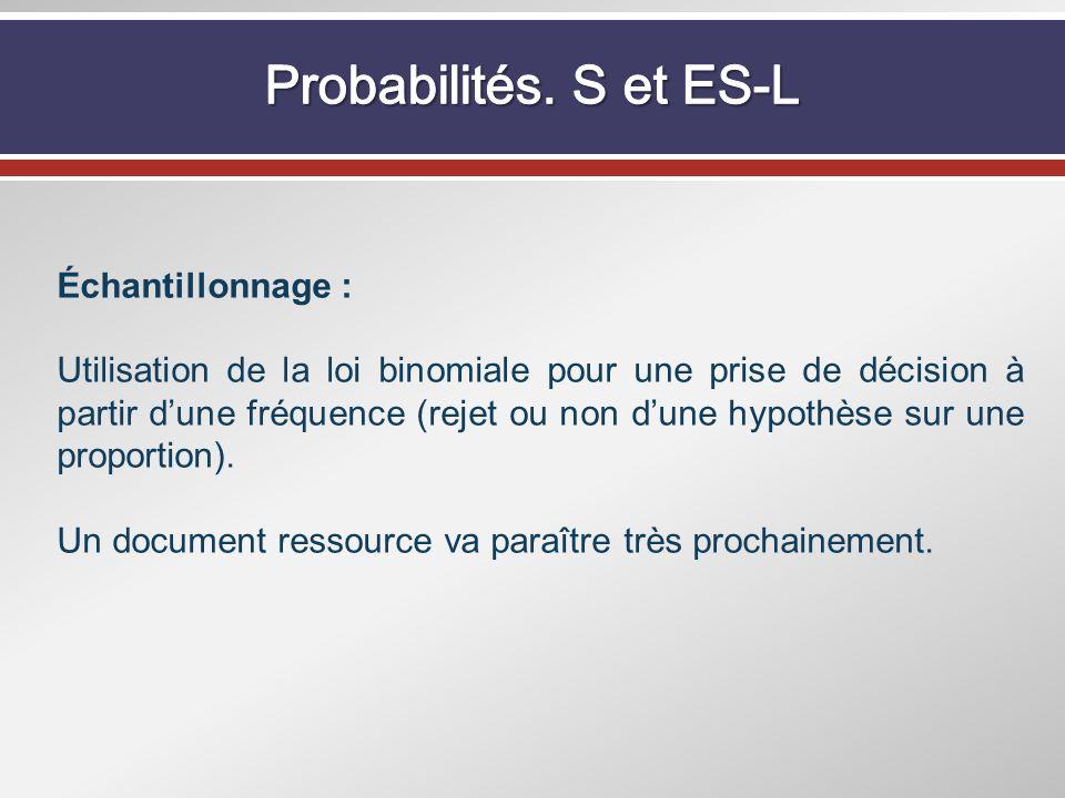 Probabilités. S et ES-L Échantillonnage :
