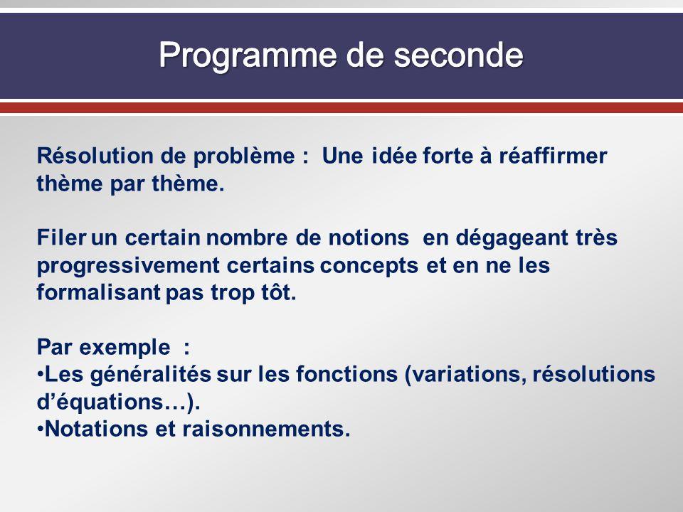 Programme de seconde Résolution de problème : Une idée forte à réaffirmer thème par thème.