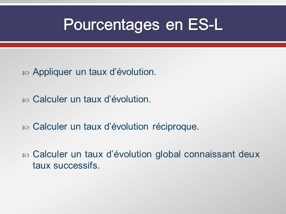 Pourcentages en ES-L Appliquer un taux d'évolution.