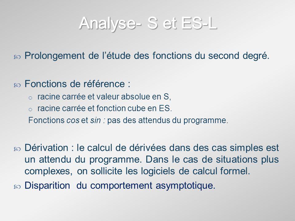 Analyse- S et ES-LProlongement de l'étude des fonctions du second degré. Fonctions de référence : racine carrée et valeur absolue en S,