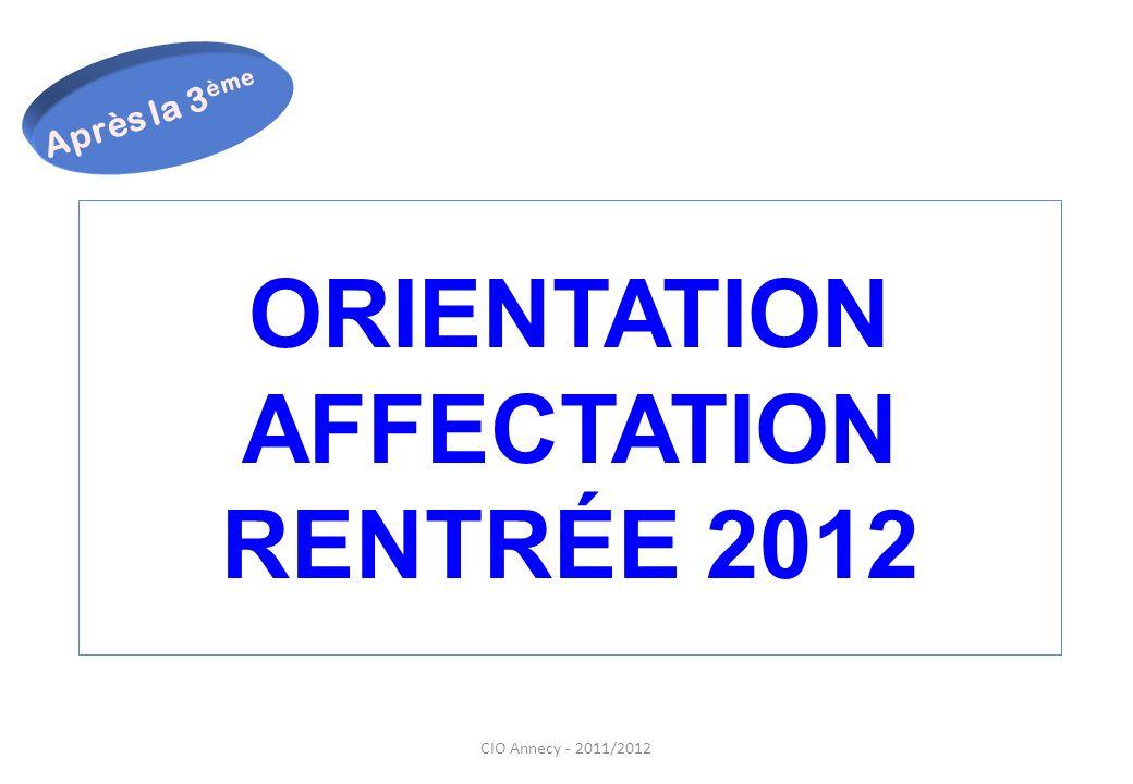 ORIENTATION AFFECTATION RENTRÉE 2012