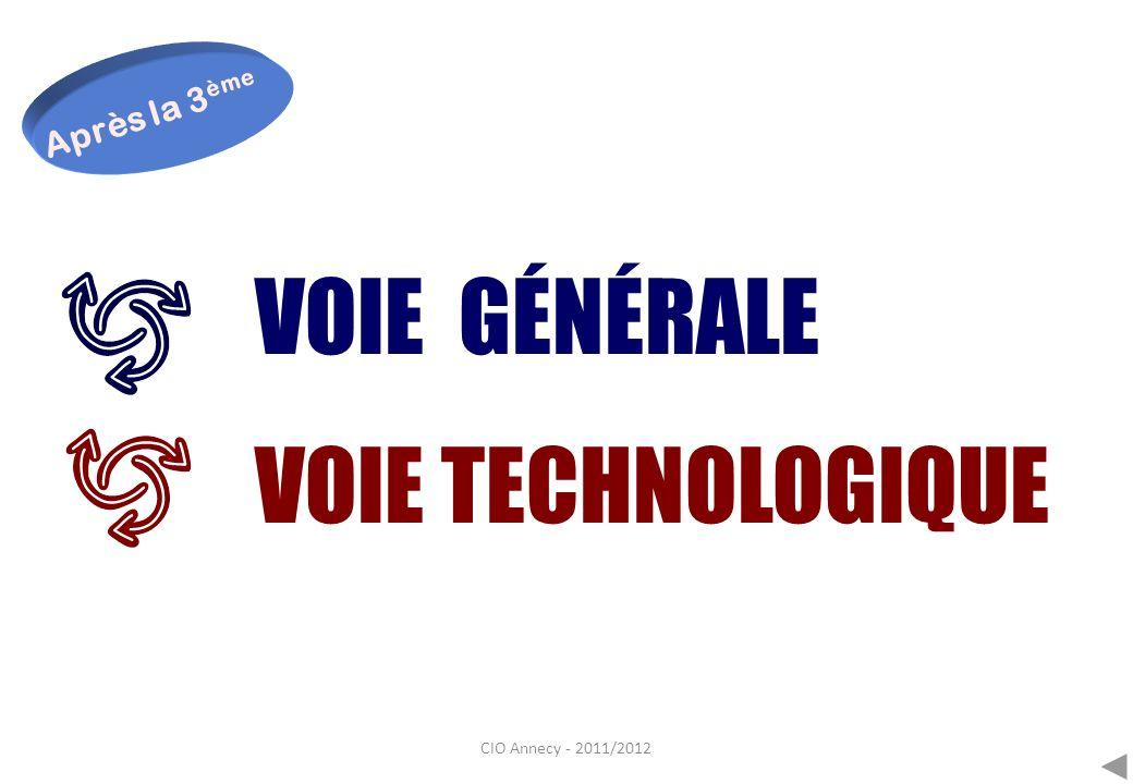 Après la 3ème VOIE GÉNÉRALE VOIE TECHNOLOGIQUE CIO Annecy - 2011/2012