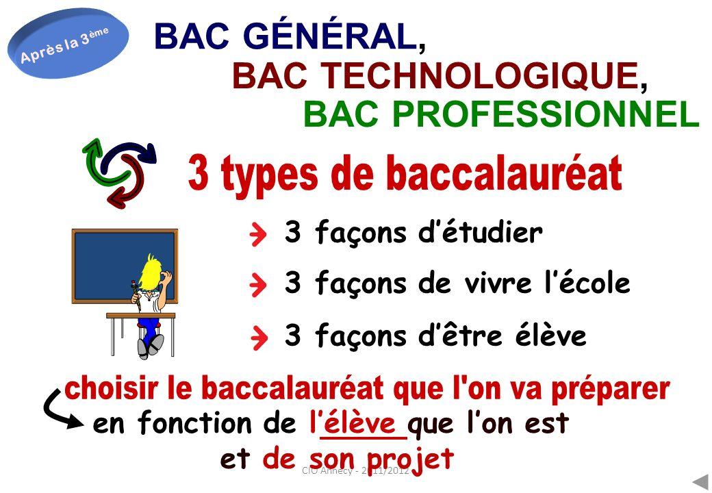 BAC GÉNÉRAL, BAC TECHNOLOGIQUE, BAC PROFESSIONNEL