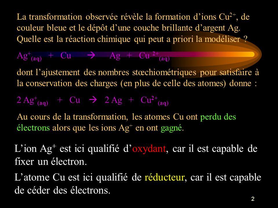 L'ion Ag+ est ici qualifié d'oxydant, car il est capable de