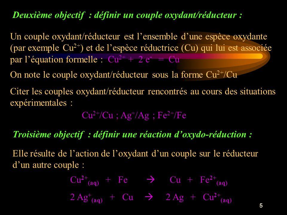 Deuxième objectif : définir un couple oxydant/réducteur :