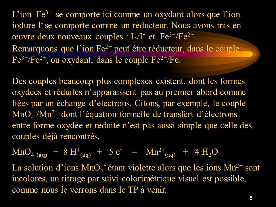 L'ion Fe3+ se comporte ici comme un oxydant alors que l'ion