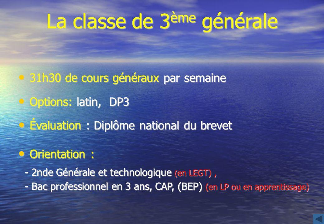 La classe de 3ème générale
