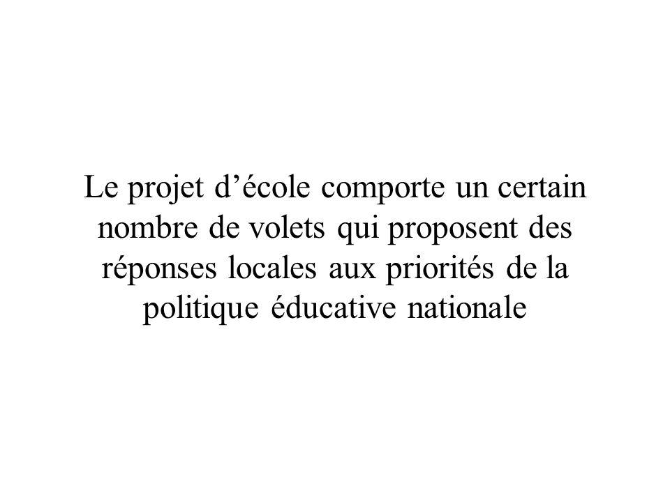 Le projet d'école comporte un certain nombre de volets qui proposent des réponses locales aux priorités de la politique éducative nationale