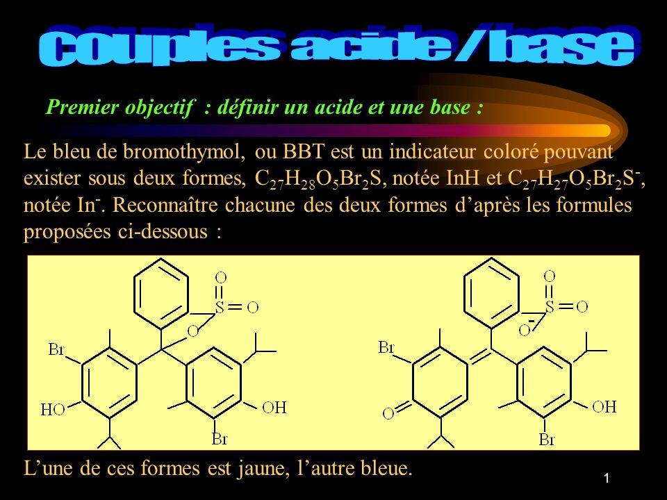 Premier objectif : définir un acide et une base :