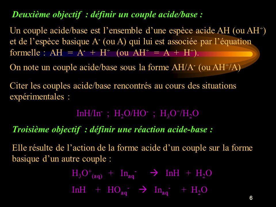 Deuxième objectif : définir un couple acide/base :