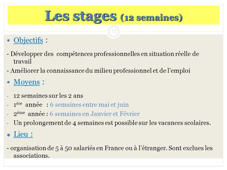 Les stages (12 semaines) Objectifs : Moyens : Lieu :