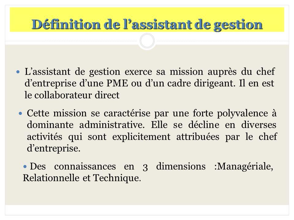 Définition de l'assistant de gestion