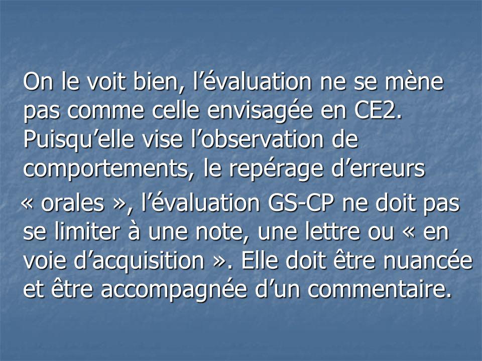 On le voit bien, l'évaluation ne se mène pas comme celle envisagée en CE2. Puisqu'elle vise l'observation de comportements, le repérage d'erreurs