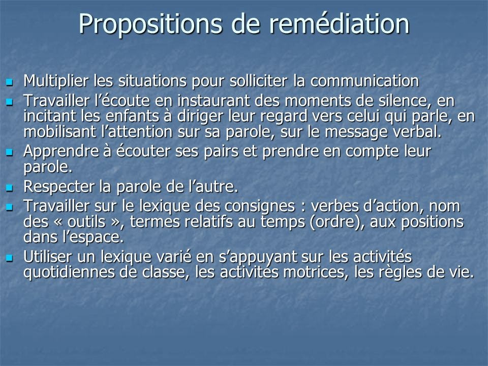 Propositions de remédiation