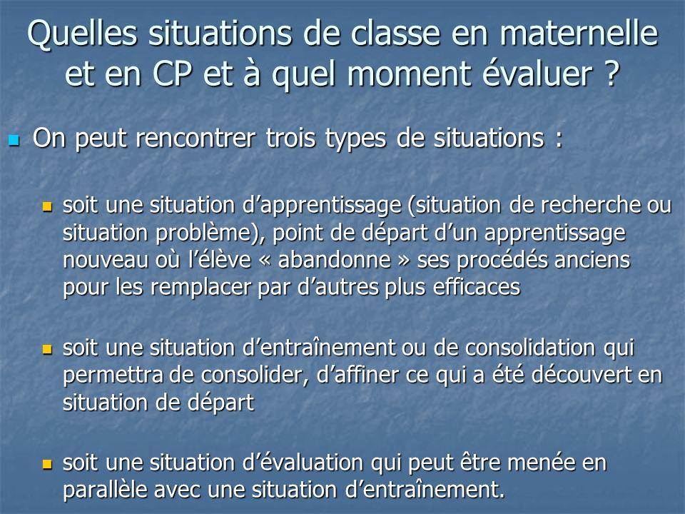Quelles situations de classe en maternelle et en CP et à quel moment évaluer