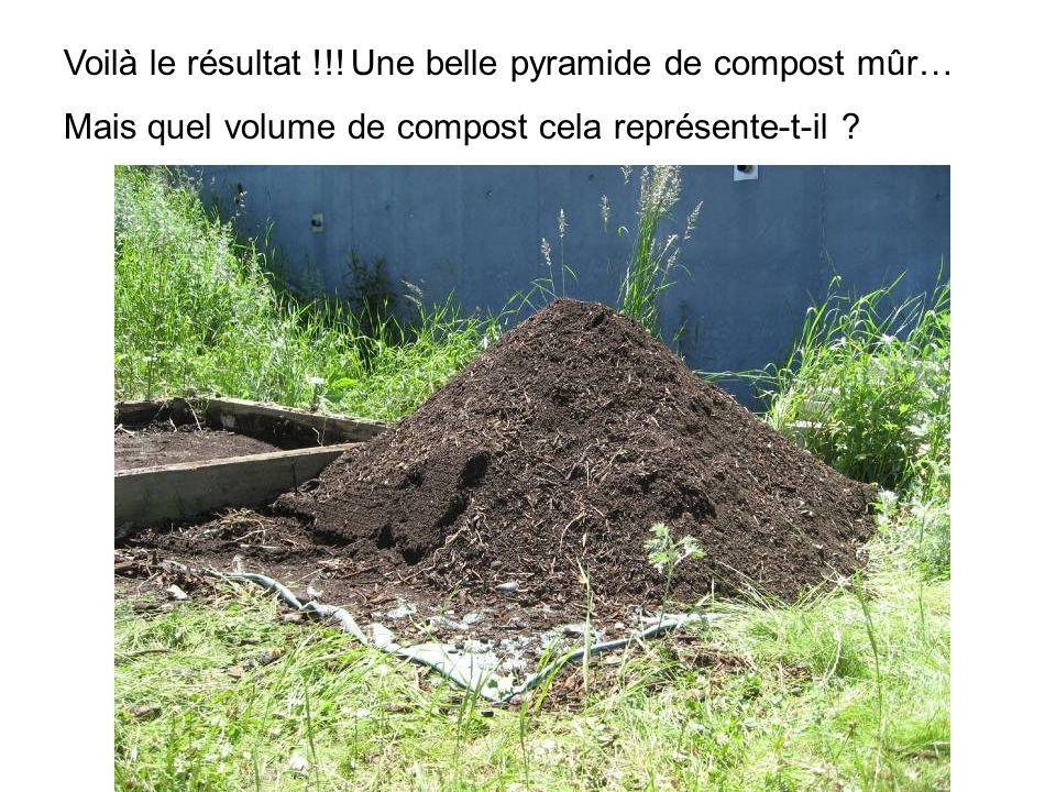Voilà le résultat !!! Une belle pyramide de compost mûr…