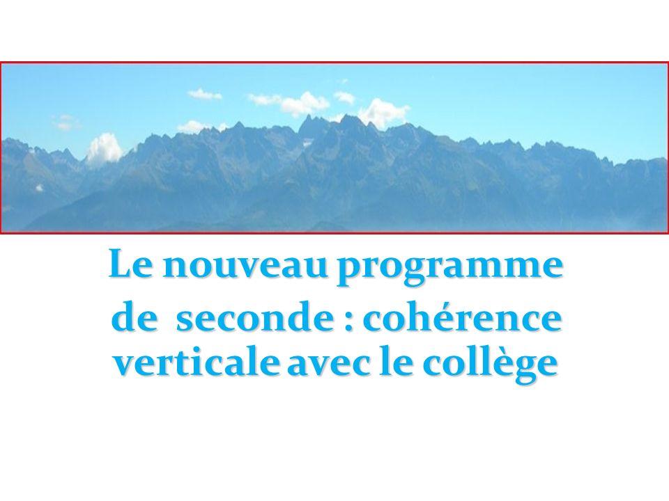 de seconde : cohérence verticale avec le collège