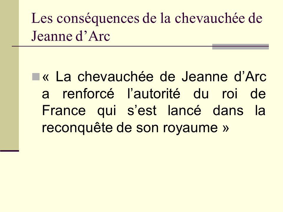 Les conséquences de la chevauchée de Jeanne d'Arc