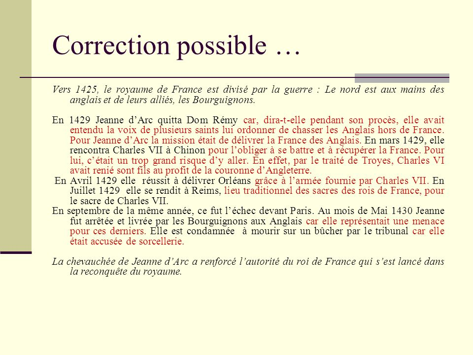 Correction possible …