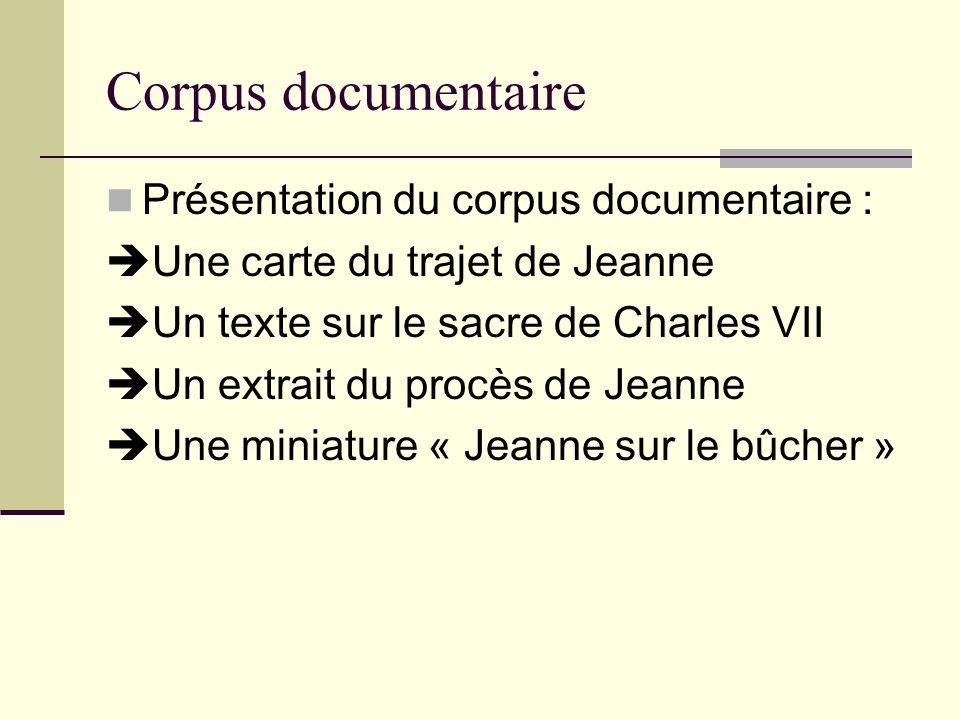 Corpus documentaire Présentation du corpus documentaire :