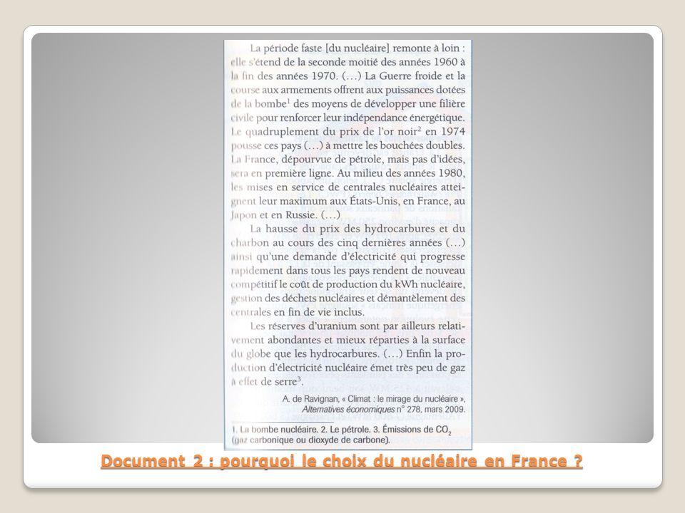Document 2 : pourquoi le choix du nucléaire en France