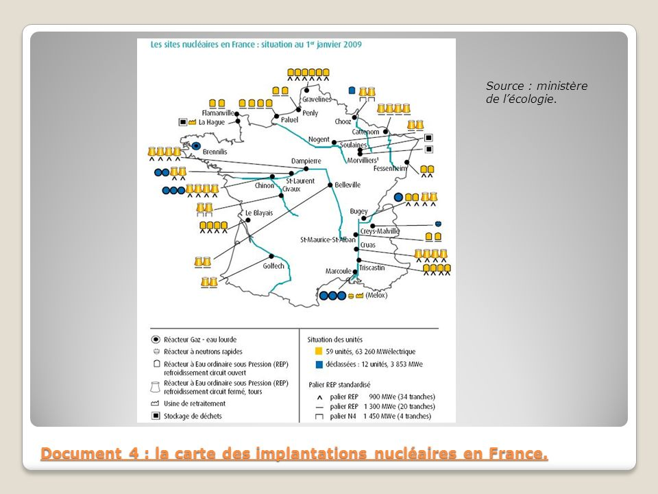 Document 4 : la carte des implantations nucléaires en France.